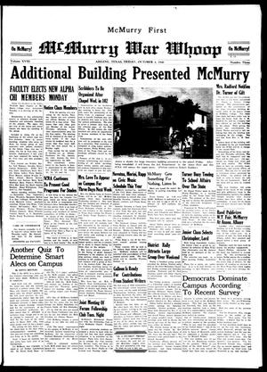 McMurry War Whoop (Abilene, Tex.), Vol. 18, No. 3, Ed. 1, Friday, October 4, 1940