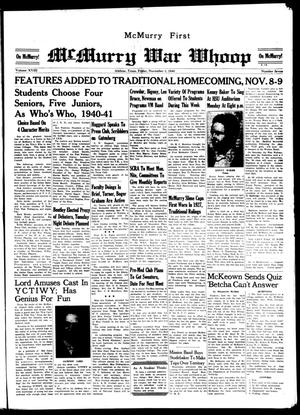McMurry War Whoop (Abilene, Tex.), Vol. 18, No. 7, Ed. 1, Friday, November 1, 1940