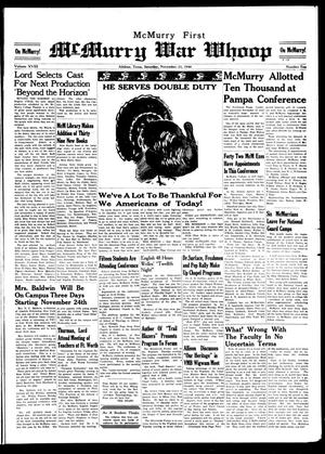 McMurry War Whoop (Abilene, Tex.), Vol. 18, No. 10, Ed. 1, Saturday, November 23, 1940