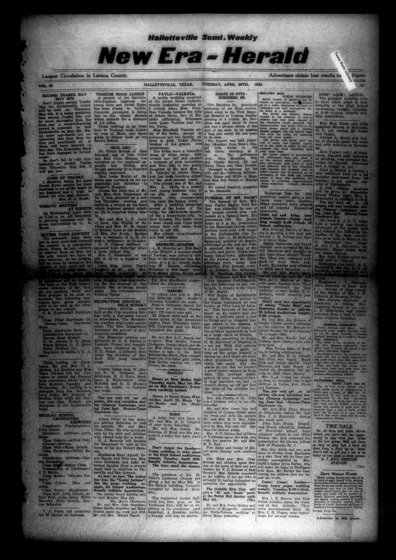 Hallettsville Semi-Weekly New Era-Herald (Hallettsville, Tex.), Vol. 57, No. 78, Ed. 1 Tuesday, April 29, 1930                                                                                                      [Sequence #]: 1 of 4