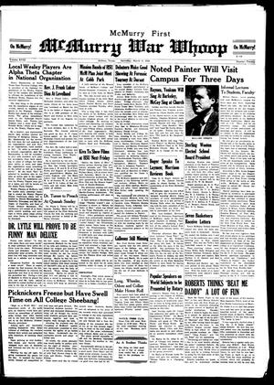 McMurry War Whoop (Abilene, Tex.), Vol. 18, No. 20, Ed. 1, Saturday, March 8, 1941