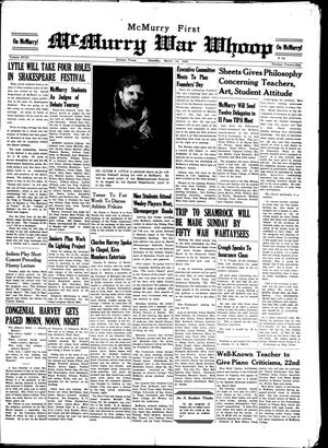McMurry War Whoop (Abilene, Tex.), Vol. 18, No. 21, Ed. 1, Saturday, March 15, 1941