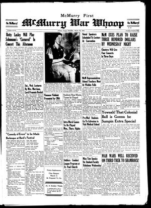 McMurry War Whoop (Abilene, Tex.), Vol. 18, No. 22, Ed. 1, Saturday, March 22, 1941