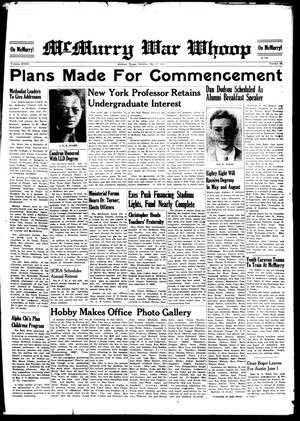 McMurry War Whoop (Abilene, Tex.), Vol. 18, No. 28, Ed. 1, Saturday, May 17, 1941