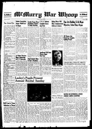 McMurry War Whoop (Abilene, Tex.), Vol. 18, No. 29, Ed. 1, Tuesday, May 27, 1941