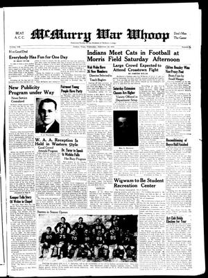 McMurry War Whoop (Abilene, Tex.), Vol. 19, No. 2, Ed. 1, Wednesday, October 1, 1941