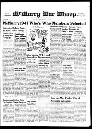McMurry War Whoop (Abilene, Tex.), Vol. 19, No. 4, Ed. 1, Wednesday, October 15, 1941