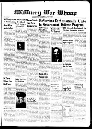 McMurry War Whoop (Abilene, Tex.), Vol. 19, No. 13, Ed. 1, Saturday, January 17, 1942