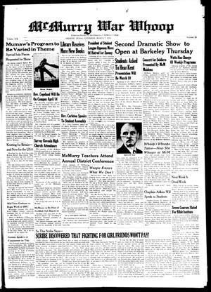 McMurry War Whoop (Abilene, Tex.), Vol. 19, No. 19, Ed. 1, Saturday, March 7, 1942