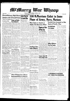 McMurry War Whoop (Abilene, Tex.), Vol. 19, No. 22, Ed. 1, Saturday, March 28, 1942
