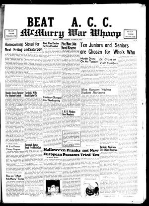 Primary view of object titled 'McMurry War Whoop (Abilene, Tex.), Vol. 20, No. 3, Ed. 1, Saturday, October 31, 1942'.