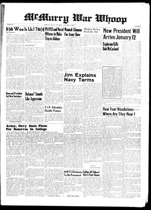 McMurry War Whoop (Abilene, Tex.), Vol. 20, No. 8, Ed. 1, Saturday, January 9, 1943