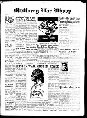 McMurry War Whoop (Abilene, Tex.), Vol. 20, No. 11, Ed. 1, Monday, February 22, 1943