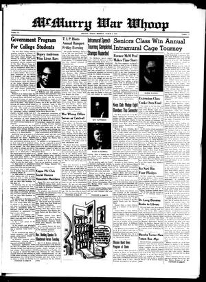 McMurry War Whoop (Abilene, Tex.), Vol. 20, No. 12, Ed. 1, Monday, March 8, 1943