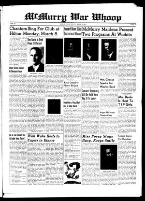 McMurry War Whoop (Abilene, Tex.), Vol. 20, No. 13, Ed. 1, Monday, March 22, 1943