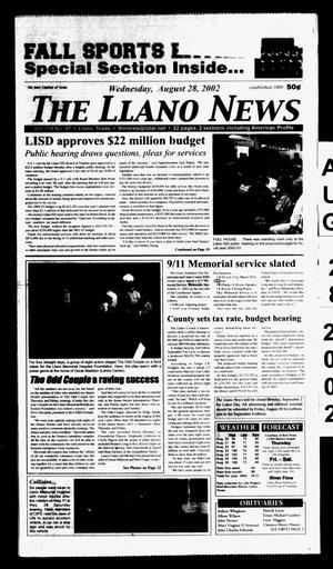 Primary view of object titled 'The Llano News (Llano, Tex.), Vol. 114, No. 47, Ed. 1 Wednesday, August 28, 2002'.