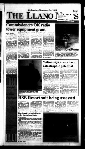 Primary view of object titled 'The Llano News (Llano, Tex.), Vol. 121, No. 8, Ed. 1 Wednesday, November 24, 2010'.