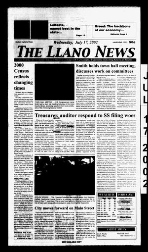 Primary view of object titled 'The Llano News (Llano, Tex.), Vol. 114, No. 41, Ed. 1 Wednesday, July 17, 2002'.