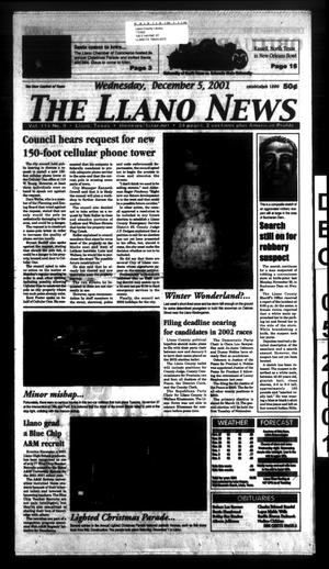 Primary view of object titled 'The Llano News (Llano, Tex.), Vol. 114, No. 9, Ed. 1 Wednesday, December 5, 2001'.