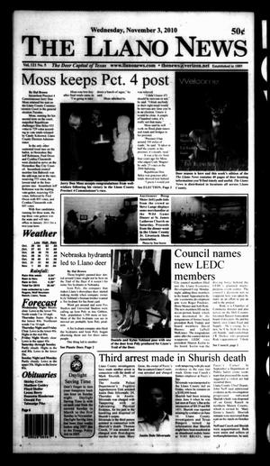 Primary view of object titled 'The Llano News (Llano, Tex.), Vol. 121, No. 5, Ed. 1 Wednesday, November 3, 2010'.