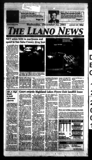 Primary view of The Llano News (Llano, Tex.), Vol. 114, No. 10, Ed. 1 Wednesday, December 12, 2001