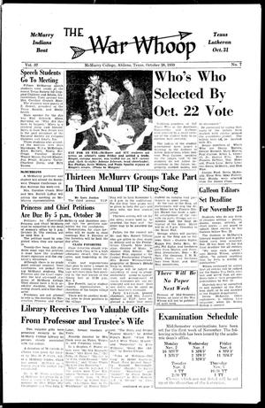 The War Whoop (Abilene, Tex.), Vol. 37, No. 7, Ed. 1, Wednesday, October 28, 1959