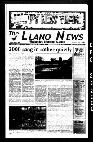 Primary view of object titled 'The Llano News (Llano, Tex.), Vol. 113, No. 12, Ed. 1 Wednesday, December 27, 2000'.