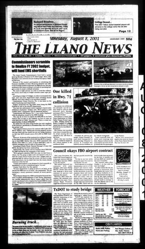 Primary view of object titled 'The Llano News (Llano, Tex.), Vol. 113, No. 44, Ed. 1 Wednesday, August 8, 2001'.