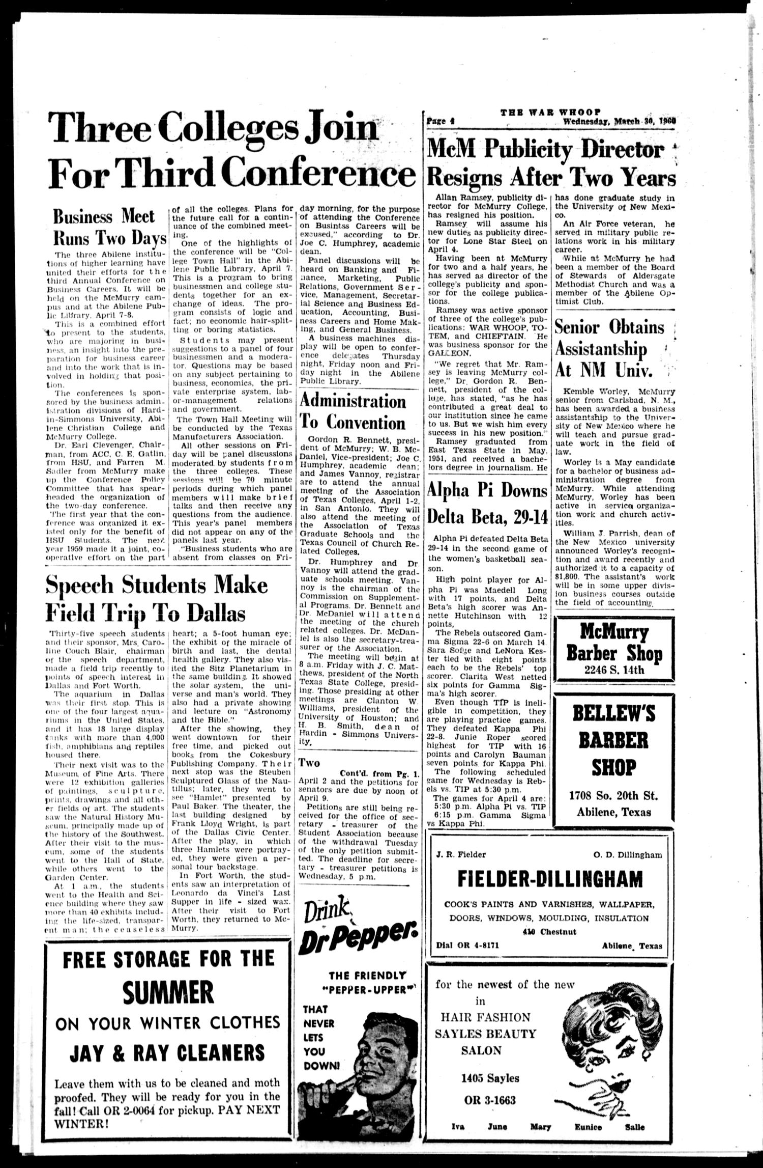 The War Whoop (Abilene, Tex.), Vol. 37, No. 22, Ed. 1, Wednesday, March 30, 1960                                                                                                      [Sequence #]: 4 of 4
