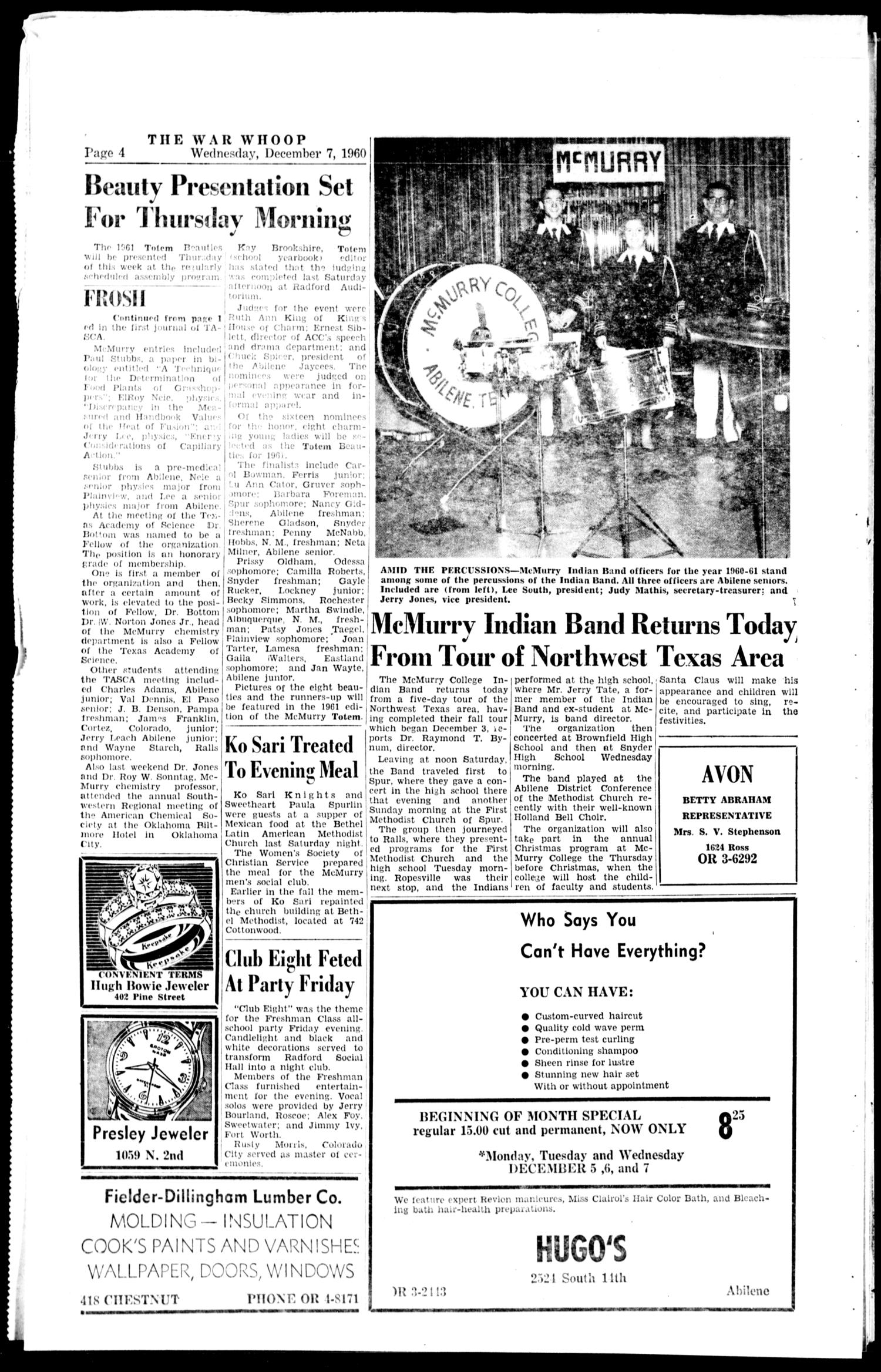 The War Whoop (Abilene, Tex.), Vol. 38, No. 12, Ed. 1, Wednesday, December 7, 1960                                                                                                      [Sequence #]: 4 of 4
