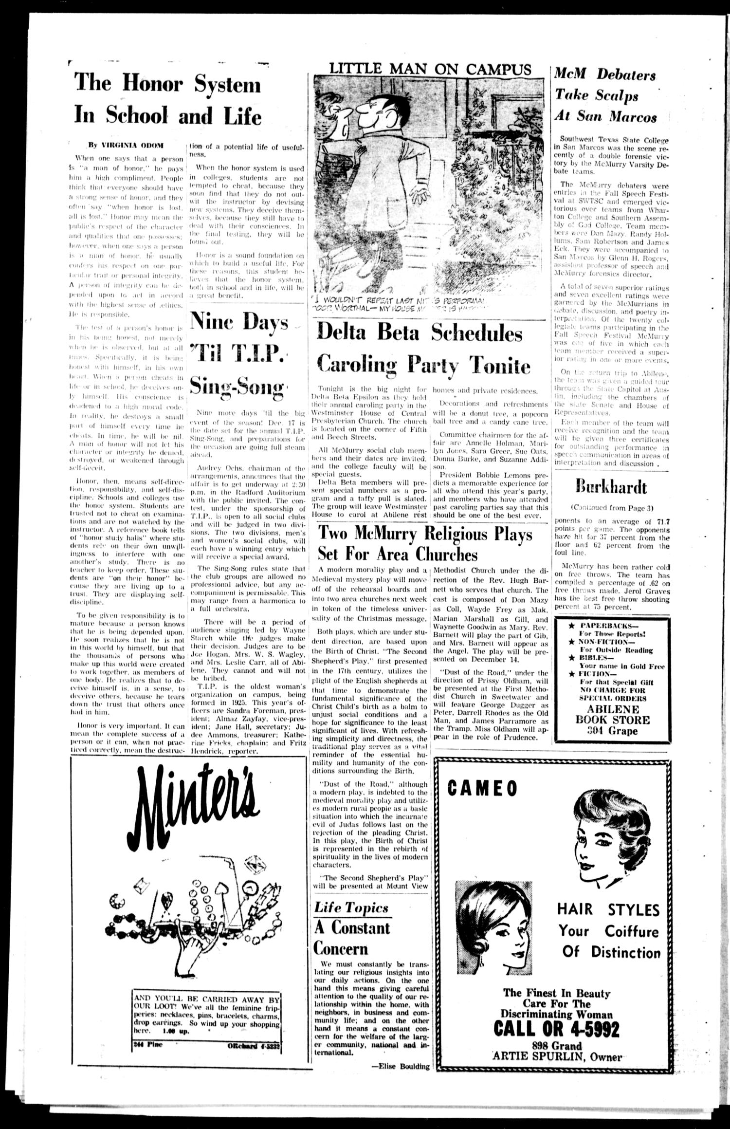 The War Whoop (Abilene, Tex.), Vol. 39, No. 9, Ed. 1, Friday, December 8, 1961                                                                                                      [Sequence #]: 4 of 4
