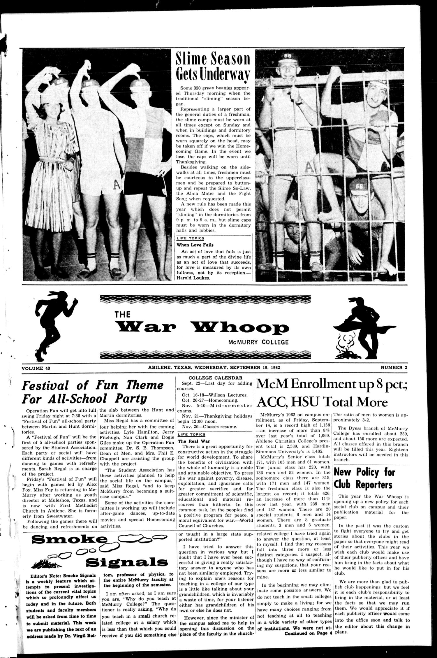 The War Whoop (Abilene, Tex.), Vol. 40, No. 2, Ed. 1, Wednesday, September 19, 1962                                                                                                      [Sequence #]: 1 of 4