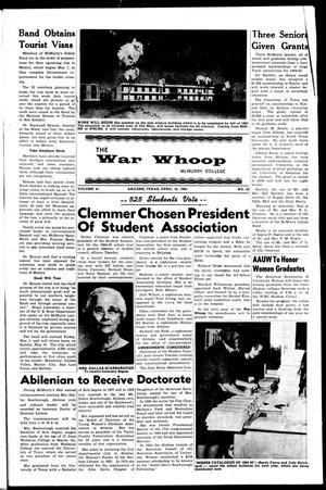 Primary view of object titled 'The War Whoop (Abilene, Tex.), Vol. 41, No. 23, Ed. 1, Thursday, April 16, 1964'.