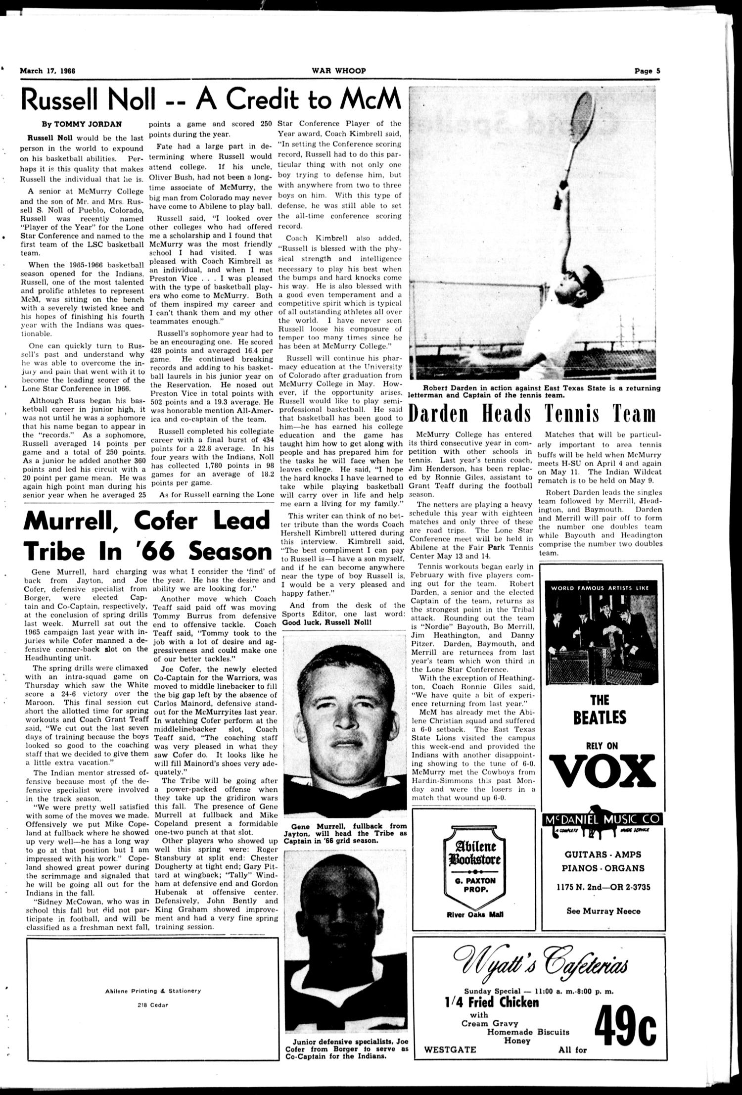 The War Whoop (Abilene, Tex.), Vol. 43, No. 20, Ed. 1, Thursday, March 17, 1966                                                                                                      [Sequence #]: 5 of 6