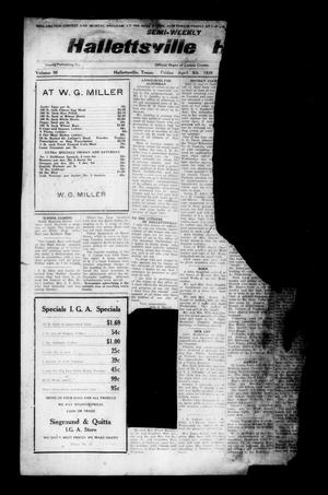 Primary view of object titled 'Semi-weekly Hallettsville Herald (Hallettsville, Tex.), Vol. 56, No. [76], Ed. 1 Friday, April 5, 1929'.