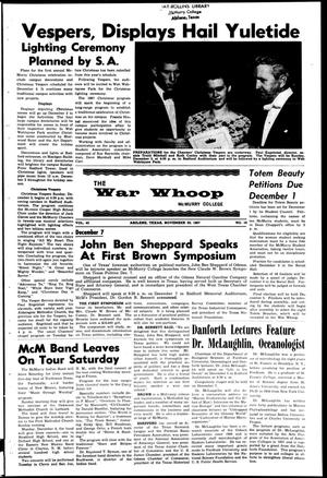 Primary view of object titled 'The War Whoop (Abilene, Tex.), Vol. 45, No. 10, Ed. 1, Wednesday, November 29, 1967'.