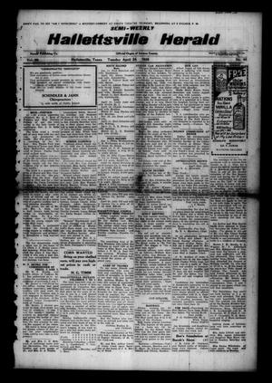 Primary view of object titled 'Semi-weekly Hallettsville Herald (Hallettsville, Tex.), Vol. 55, No. 85, Ed. 1 Tuesday, April 24, 1928'.
