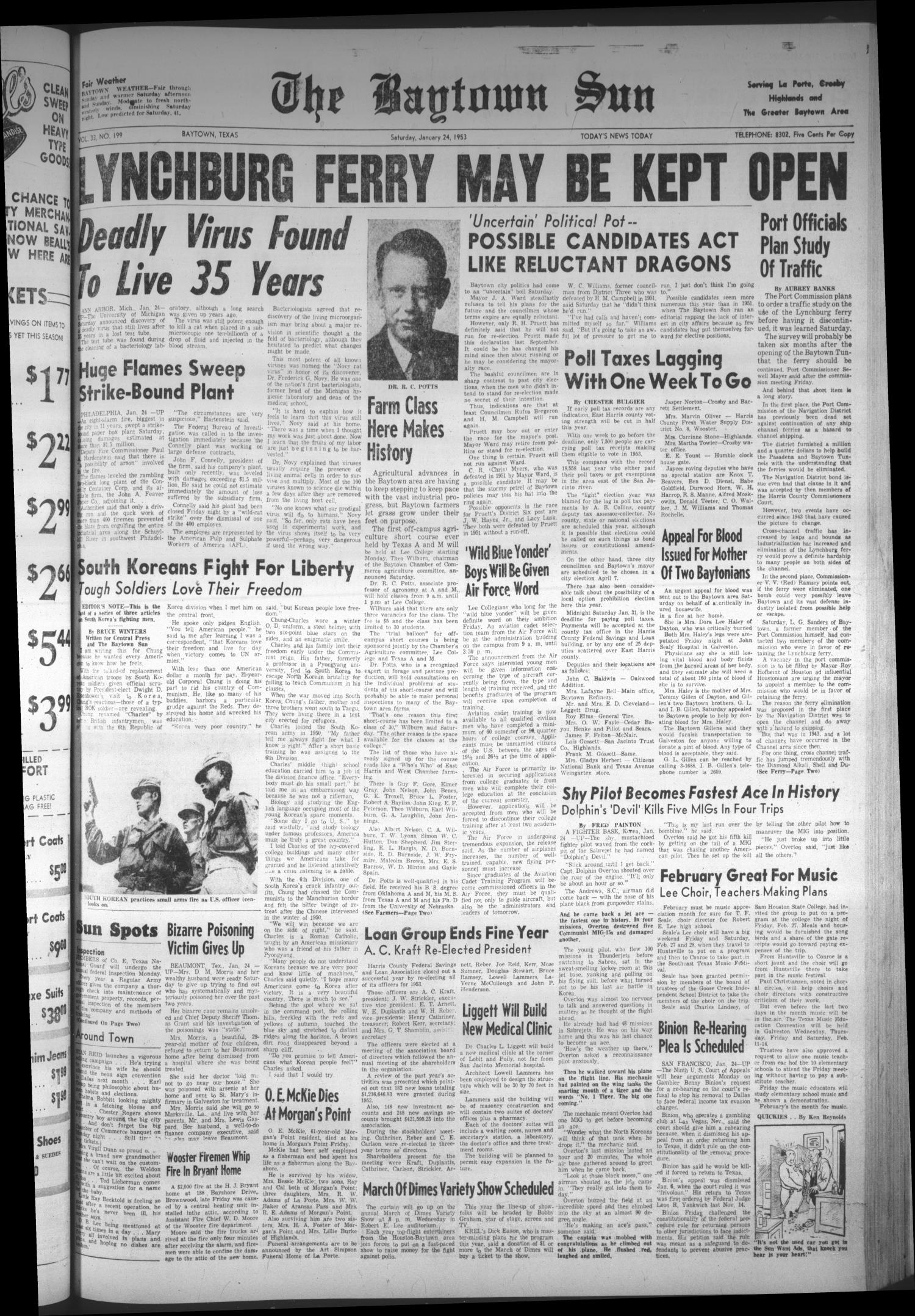 The Baytown Sun (Baytown, Tex.), Vol. 33, No. 199, Ed. 1 Saturday, January 24, 1953                                                                                                      [Sequence #]: 1 of 8