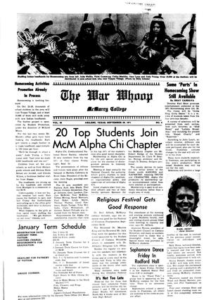 The War Whoop (Abilene, Tex.), Vol. 49, No. 4, Ed. 1, Wednesday, September 29, 1971