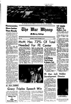 The War Whoop (Abilene, Tex.), Vol. 49, No. 7, Ed. 1, Wednesday, October 20, 1971