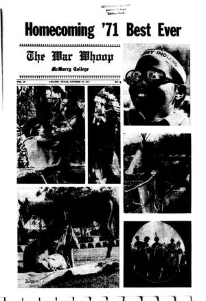 Primary view of object titled 'The War Whoop (Abilene, Tex.), Vol. 49, No. 8, Ed. 1, Wednesday, October 27, 1971'.