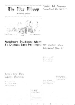 Primary view of object titled 'The War Whoop (Abilene, Tex.), Vol. 49, No. 9, Ed. 1, Wednesday, November 3, 1971'.