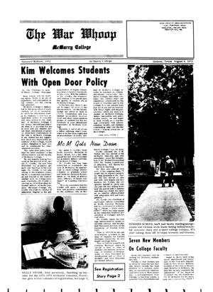 Primary view of object titled 'The War Whoop (Abilene, Tex.), Ed. 1, Wednesday, August 9, 1972'.