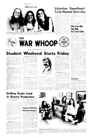 Primary view of object titled 'The War Whoop (Abilene, Tex.), Vol. 51, No. 17, Ed. 1, Thursday, February 14, 1974'.
