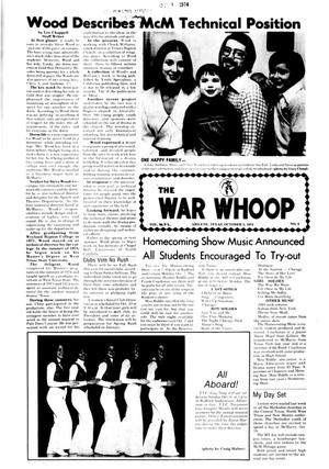 Primary view of object titled 'The War Whoop (Abilene, Tex.), Vol. 52, No. 5, Ed. 1, Thursday, October 3, 1974'.