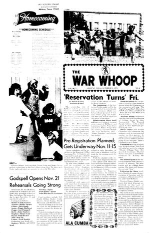 Primary view of object titled 'The War Whoop (Abilene, Tex.), Vol. 52, No. 9, Ed. 1, Thursday, October 31, 1974'.