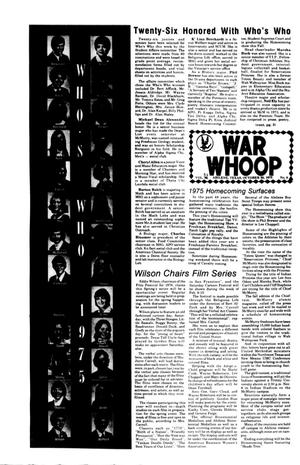 Primary view of object titled 'The War Whoop (Abilene, Tex.), Vol. 53, No. 8, Ed. 1, Thursday, October 30, 1975'.