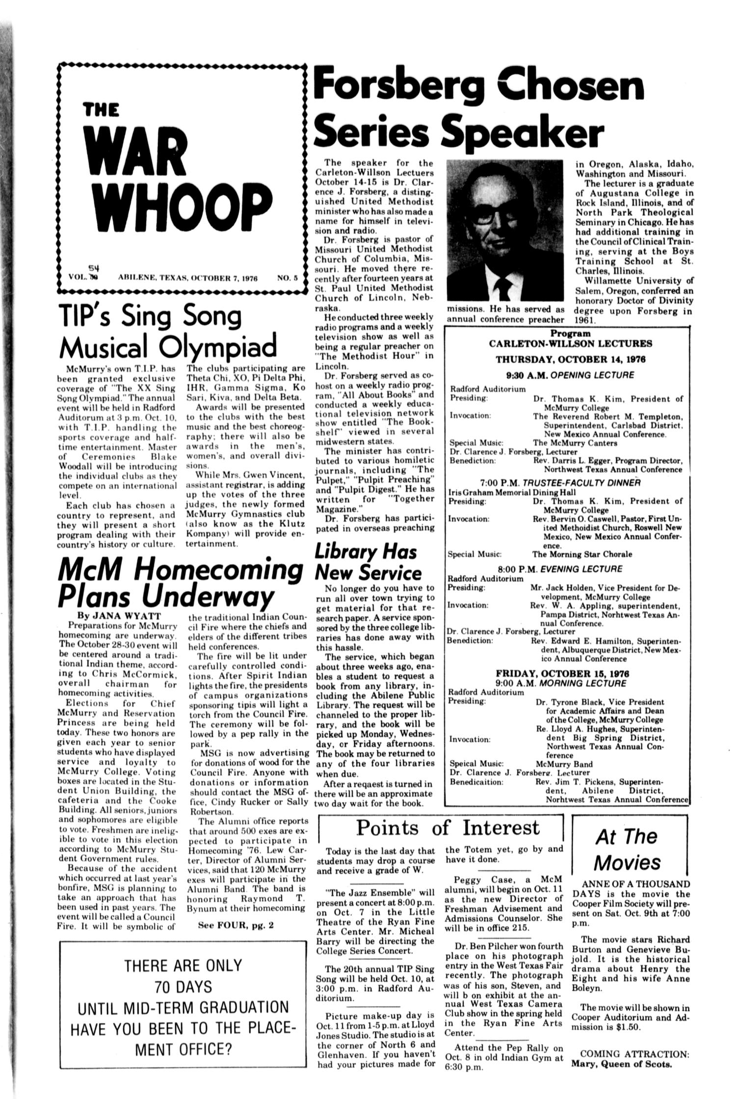 The War Whoop (Abilene, Tex.), Vol. 54, No. 5, Ed. 1, Thursday, October 7, 1976                                                                                                      [Sequence #]: 1 of 4