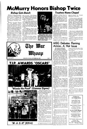 Primary view of object titled 'The War Whoop (Abilene, Tex.), Vol. 55, No. 7, Ed. 1, Thursday, October 20, 1977'.