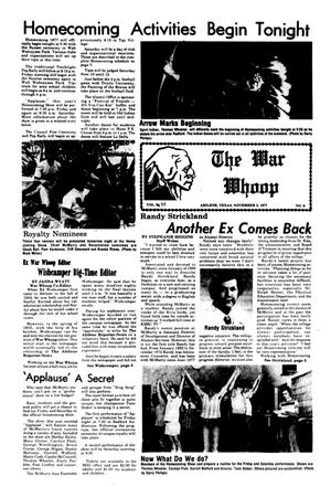 Primary view of object titled 'The War Whoop (Abilene, Tex.), Vol. 55, No. 9, Ed. 1, Thursday, November 3, 1977'.